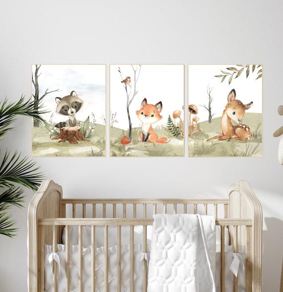 Animal nursery decor, woodland nursery prints, jungle animals, gender neutral nursery, Woodland Nursery, animal prints, fox, deer, raccoon