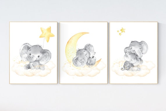 Nursery wall art neutral, nursery wall art elephant, cloud and stars, gender neutral, baby room decor, elephant balloon, yellow nursery