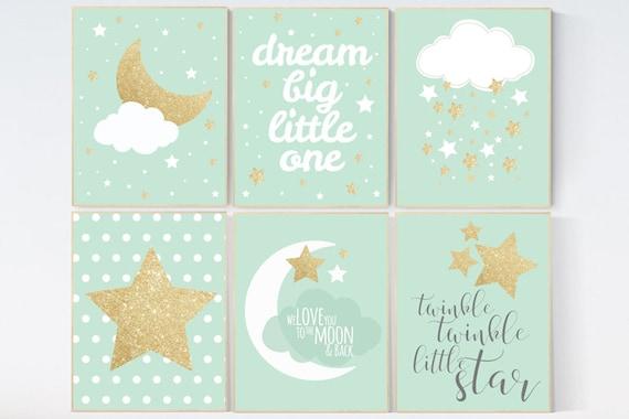 Nursery decor boy, dream big little one, twinkle twinkle little star, mint gold, nursery decor, mint nursery, moon nursery, nursery decor