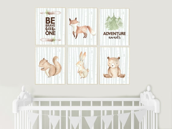 Woodland animals Nursery decor, nursery wall art woodland, nursery decor neutral, gender neutral, animal nursery, be brave little one