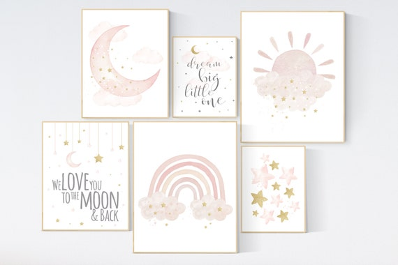 Nursery wall art girl, Nursery prints rainbow, blush Nursery decor girl, blush gold nursery wall art, blush pink, nursery wall decor girl