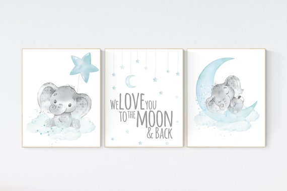 We love you to the moon and back, Elephant nursery art, elephant nursery print, aqua nursery decor, gender neutral, moon and stars