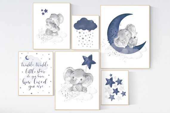Nursery decor boy elephant, navy nursery wall art, cloud, stars, boy nursery wall decor, twinkle twinkle little star, boys room wall art