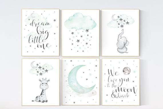 Mint nursery decor, gender neutral nursery, nursery decor elephant, giraffe, dream big little one, moon and star nursery, mint green nursery
