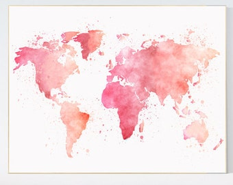 Watercolor world map pink nursery wall art nursery print pink world map watercolor map baby girl nursery pink watercolor world map wall gumiabroncs Image collections