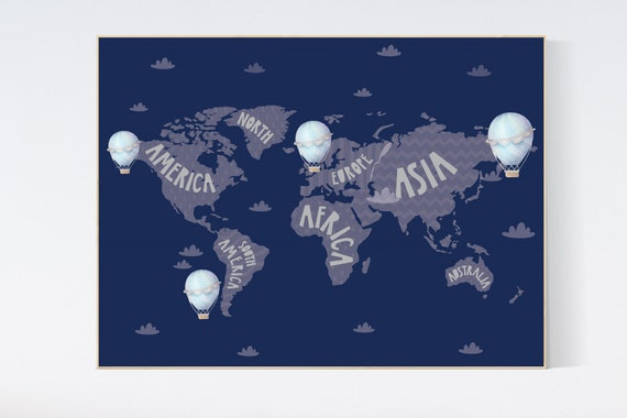World map nursery, World map wall art, nursery decor boy, navy nursery, kids room, nursery wall art map, map print world, map nursery