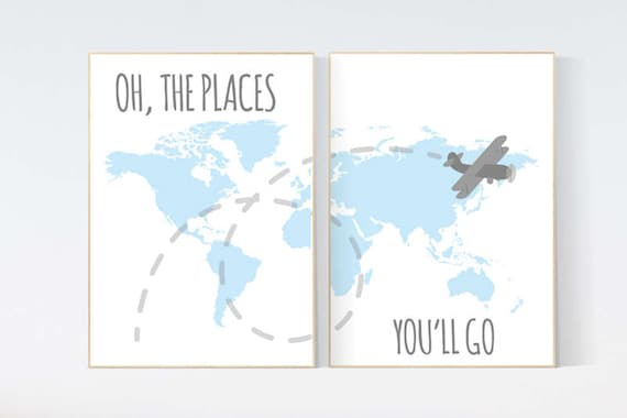 Oh the places you'll go, World Map wall art, world map nursery, Blue nursery decor, world map wall art, baby boy nursery, nursery decor boy