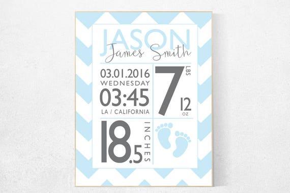 Nursery name sign, Birth stats wall art, Personalized, birth stats print, Birth announcement wall art, baby name sign, personalized gift