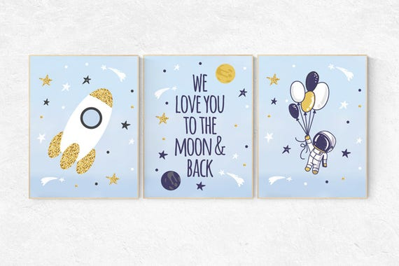 We love you to the moon and back, Space nursery decor, Space themed nursery, outer space, boys room wall art, baby boy, playroom, kids room