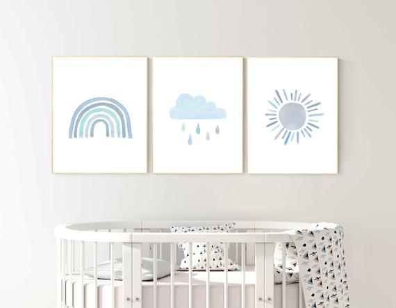 Nursery prints rainbow, Nursery decor boy, nursery wall art boy, blue, moon star, cloud, nursery wall art, boy nursery print, rainbow