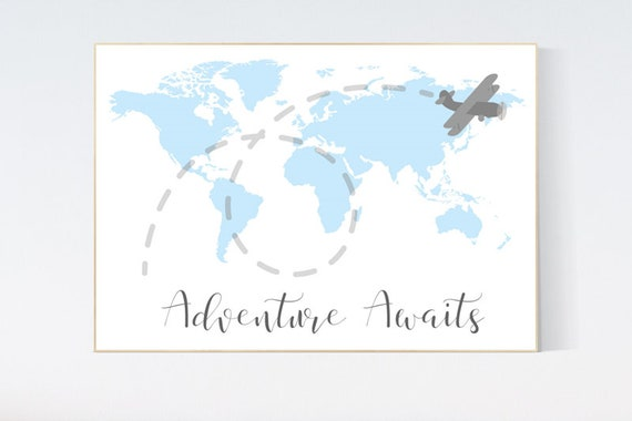 Nursery wall art map, adventure awaits, world map print, nursery decor boy mountains adventure, blue gray, plane nursery decor, blue nursery