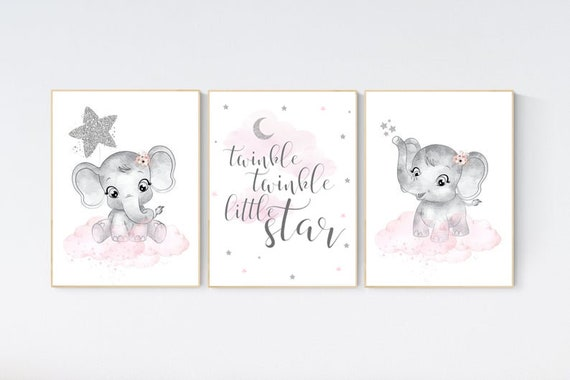 Girl nursery decor, pink and silver, elephant nursery prints, nursery wall art girl, baby girl elephant nursery decor, girl nursery wall art