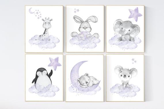 Purple nursery, animal prints, Nursery decor girl lavender, girl nursery wall art, animal nursery, nursery prints animals, baby room decor