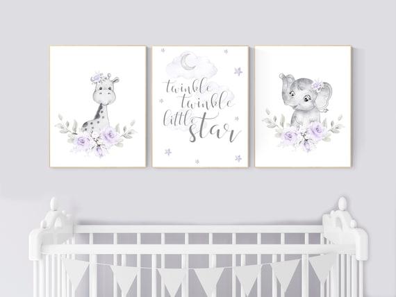 Nursery decor girl boho, Purple nursery, giraffe, elephant, Floral jungle animals, lavender, flower nursery prints, lilac, animal prints