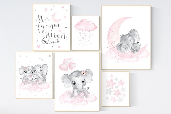 Nursery wall art girl pink and gray, elephant nursery decor, nursery decor girl pink, moon and stars, girl nursery wall art, elephant prints