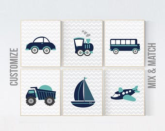 Transportation nursery, nursery prints boy, Nursery decor boy, baby room decor boy, boys room decor vehicles plane train car truck boat