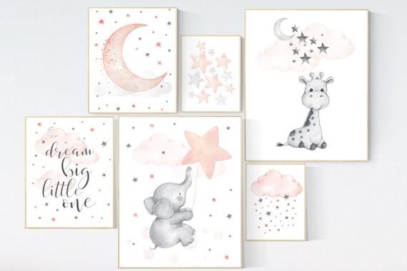 Nursery decor girl coral, nursery decor Elephant, giraffe nursery print, nurser decor girl, coral nursery, twin nursery, star nursery, moon