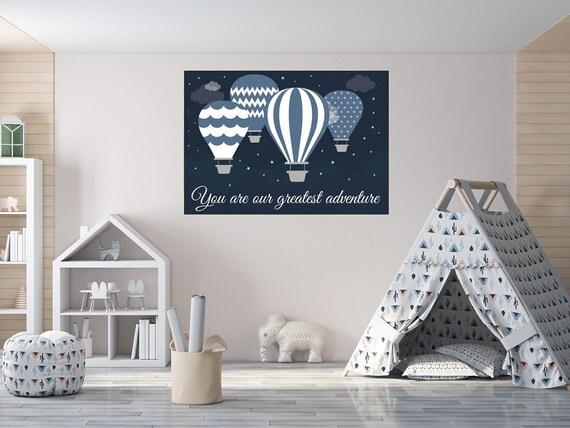 You are our greatest adventure, Nursery decor boy, navy nursery decor, hot air balloon nursery, playroom decor, boys room decor, navy decor