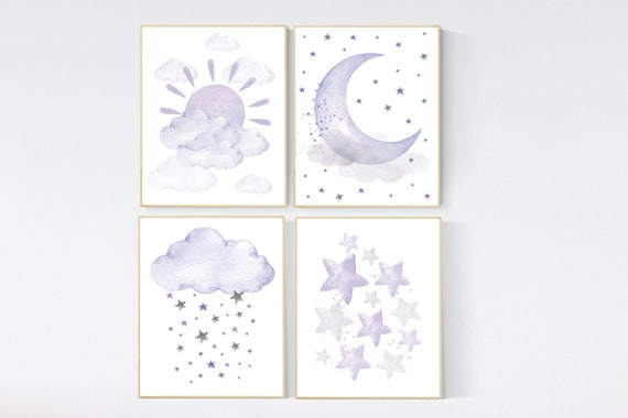 Nursery prints rainbow, Nursery decor girl purple, lilac nursery, nursery wall art girl, moon star, cloud, sun nursery, lavender, lilac