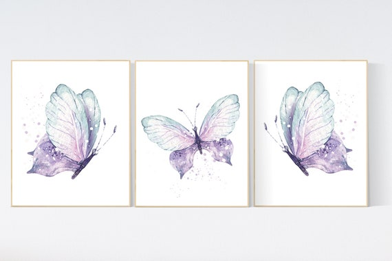 Nursery decor girl butterfly, purple mint, Butterfly Nursery Art, Butterfly Nursery Decor for Baby Girl, lilac, lavender, aqua, mint purple