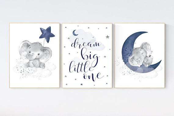 Nursery decor elephant, navy nursery decor, dream big little one, moon and stars, navy blue nursery art. baby room art, elephant nursery