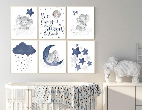 Navy blue nursery wall art, Nursery decor boy elephant, nursery wall art boy, moon and stars, we love you to the moon and back, navy room