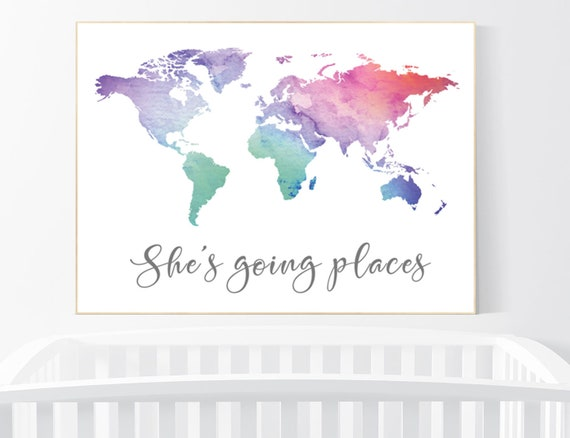 She's going places, World Map poster, world map wall art, nursery wall art, she's going places, pink purple, mint, grey, nursery decor girls
