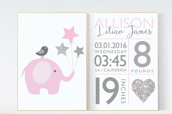 Birth stats wall art, pink silver nursery, elephant nursery, baby birth stats, nursery wall art, personalized, pink and silver baby shower