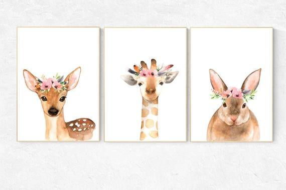 Woodland nursery, flower animal print, Nursery decor girls, Nursery prints woodland, animal flower crown, nursery prints animals, flower