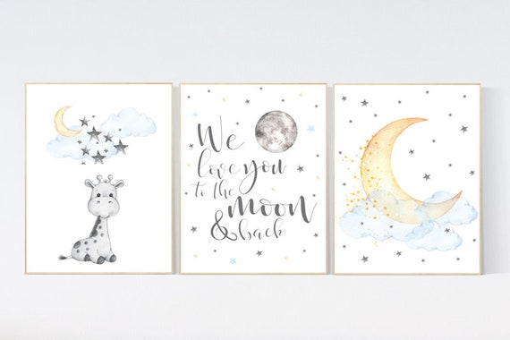 Nursery wall art giraffe, nursery decor neutral, we love you to the moon and back, moon and stars, gender neutral, blue yellow baby room