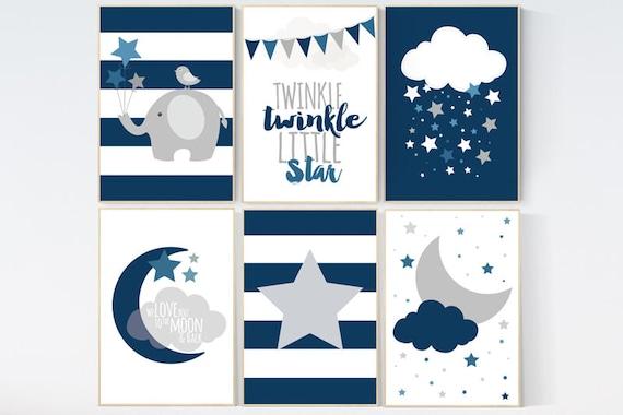 CUSTOMIZE! NAVY blue Nursery decor boy, nursery prints quotes, twinkle twinkle little star, nursery prints, navy blue wall art, navy gray