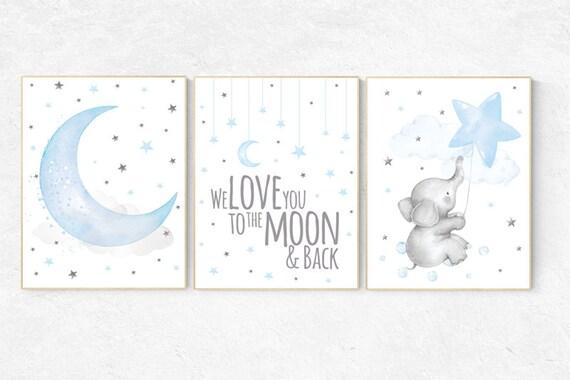 Nursery wall art boy elephant, we love you to the moon and back, Blue gray, Nursery decor boy, clouds and stars nursery, blue grey, moon