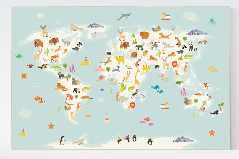 Nursery World Map Animal World Map Animal Map Nursery Etsy