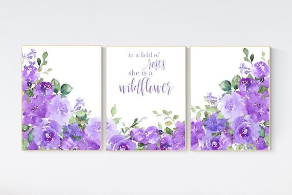 Nursery decor girl purple, floral nursery, flower nursery, purple nursery, lavender, In a field of roses she is a wildflower, floral nursery