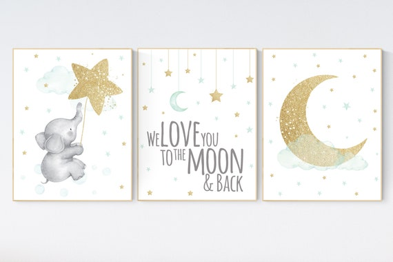 Nursery decor elephant, gender neutral, mint and gold nursery, we love you to the moon and back, mint gold, mint green, nursery wall decor