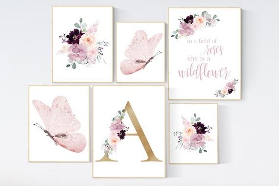 Nursery decor girl purple, mauve, Burgundy, floral nursery, flower nursery, butterfly, in a field of roses she is a wildflower, blush