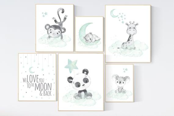 Nursery decor gender neutral, animal prints, mint nursery, mint green nursery, panda, koala, giraffe, bear, monkey, nursery wall decor