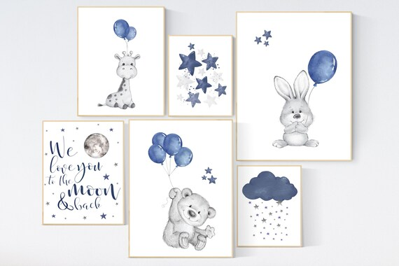Nursery decor boy animals, navy nursery, bunny, bear, giraffe, nursery wall art boy, navy blue, moon, cloud and stars, balloon, animals