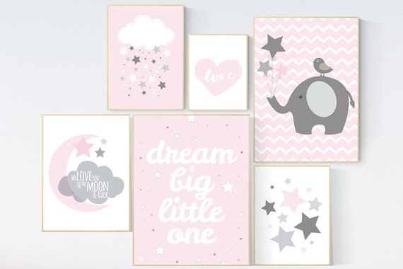 Baby girl nursery decor, dream big little one, Pink gray nursery, moon prints, elephant nursery, pink nursery set, baby shower moon and back