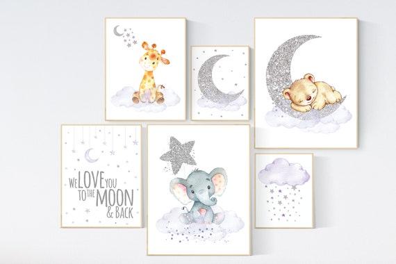 Nursery wall art girl, animal nursery, lilac and silver nursery, we love you to the moon and back, purple silver, lavender nursery, animals