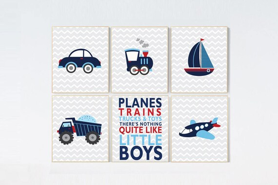 Transportation nursery, Baby Boy Nursery, transportation boys room decor, train, truck plane, car, vehicle nursery