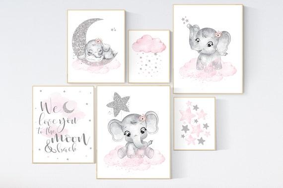 Nursery decor girl, pink and silver, elephant nursery prints, nursery wall art girl, baby girl elephant nursery decor, girl nursery wall art