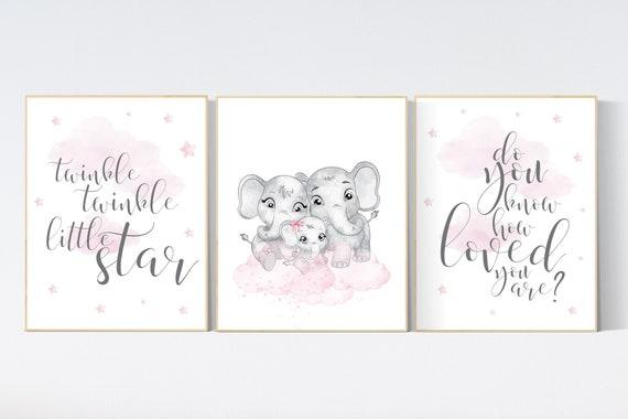 Ttwinkle twinkle little star, Moon nursery, Nursery wall art elephant, pink nursery, baby room decor girl, nursery art, baby girl room ideas