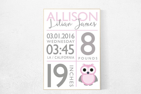 Girl birth announcement nursery decor, owl, pink nursery decor, nursery prints, baby birth print baby stats new baby gift Personalized