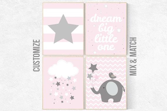 Pink Nursery Art, Nursery decor girl, baby girl room decor, Nursery Print, Baby Girl Pink Nursery Art, pink gray, girls nursery decor