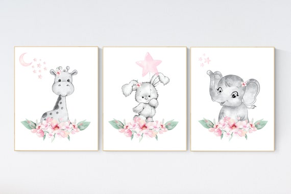 Nursery decor girl elephant, bunny, giraffe, nursery decor girl flower, nursery decor girl floral, Boho baby room, pink nursery decor