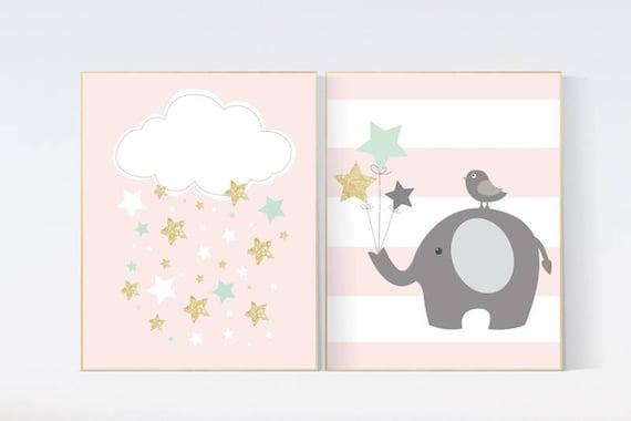 Nursery decor girl mint pink, coral mint gold, nursery decor elephant, cloud and stars nursery, mint and coral, nursery wall art elephant