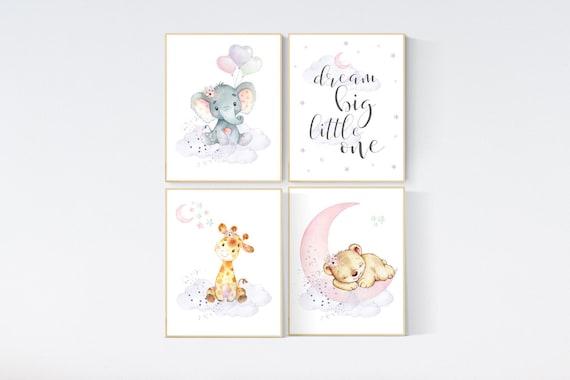 Nursery wall art girl elephant, giraffe, sheep, bunny, pink, mint, purple, cloud and stars, baby room art, girl nursery prints
