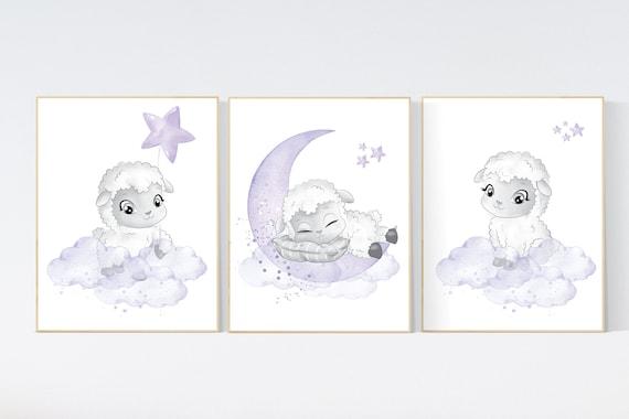 Nursery decor girl, Sheep nursery decor, purple nursery, Nursery decor girl, nursery wall art sheep, lavender nursery, girl nursery prints