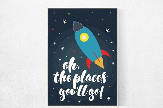 Space nursery decor, oh the places you'll go, outer space nursery wall art, nursery set, kids room decor, nursery prints baby boy room decor